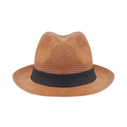 Classique traditionnelle 100 % panamastroh largeur du bord marron chapeau souple handwoven transparante en équateur - Marron - L