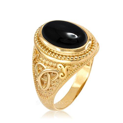 10K Yellow Gold Celtic Black Onyx Gemstone Statement Ring (15.75)