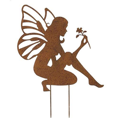 Jardín de rodillas decoración de hadas Clásico en la placa en el diseño de parrilla Blumenfee figura óxido para el jardín de jardín de hierro forjado estacas del jardín de la vendimia se oxidan uso