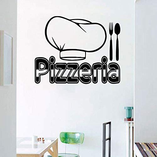 zzlfn3lv Pizza Pâtes Cuisine Italienne Cuisine Mur Autocollant Coutellerie Couteau et Fourchette Chef Chapeau Décoration de La Maison Applique Amovible Auto-Adhésif Mural 53x42 cm
