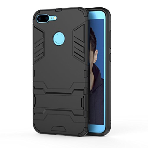 Ougger Handyhülle für Huawei Honor 9 Lite Hülle Schale Tasche, Schutzhülle [Video-Standfuß] Leicht Rüstung Cover Hart PC + Weich TPU Silikon Schale für Huawei Honor 9 Lite (Dunkelschwarz)