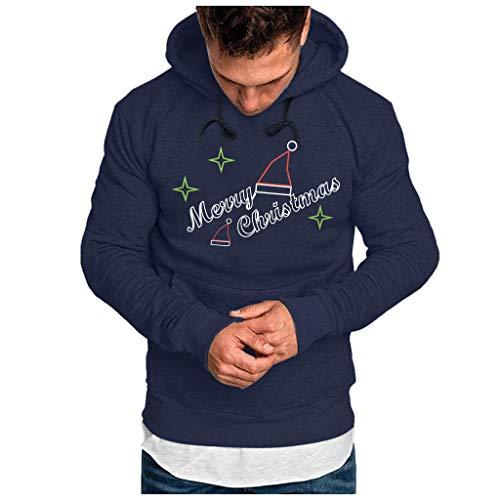 iZHH Mens Adult Pullover Sweatshirt Hooded Merry Christmas Hoodie Pocket Outwear(Navy,XX-Large)