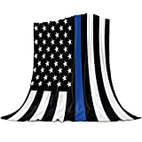 SIGOUYI Lightweight Fleece Blankets Reversible Throw Cozy Plush Microfiber All-Season Blanket for Bed/Couch - King 60x80 Inch, Blue Line Us Flag Honoring Men and Women
