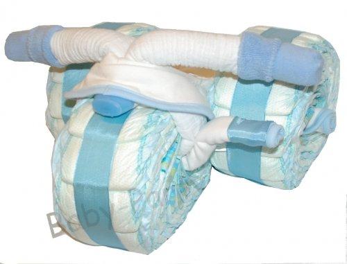 Windeltorte Junge Pampers/Windeldreirad mit Pedalen, blau - Pamperstorte - Bestes Geschenk zur Geburt und Taufe, Babyparty und Babyshower