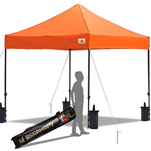 ABCCANOPY Pop up Canopy Tent Commercial Instant Shelter with Wheeled Carry Bag, Bonus 4 Canopy Sand Bags, 10x10 FT (Orange)