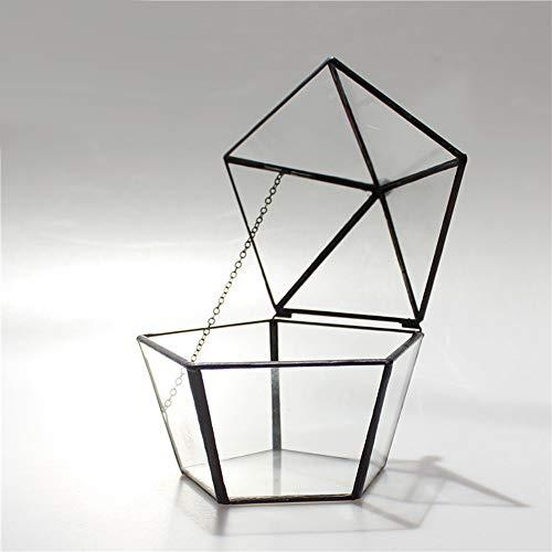 MINGZE Terrario de Estilo Retro, Cristal Forma joyero pentagonal, Caja
