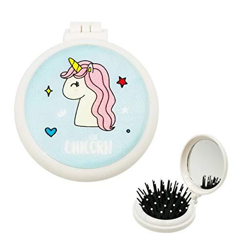 Unicorn Hair Brush, Fold Pop Up Hair Brush with Makeup Mirror Pocket Hairbrush Collapsible Portable for Girls Women Makeup Travel School - Blue