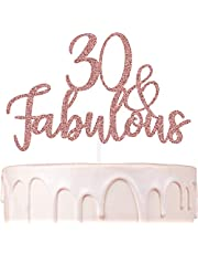 Thirty and Fabulous 30th Birthday Cake Topper for women Rose Gold Decorations for her Hello 30 Bday Party