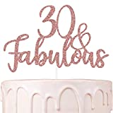 Thirty and Fabulous 30 Cake Topper Rose Gold Glitter 30th Birthday Cake Decorations for Women Hello 30 Party Supplies