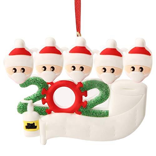 Hbsite Adorno navideño Colgantes navideños 2020 Cuarentena personalizada Adornos para árboles de navidad familiares Decoración navideña Superviviente Regalo creativo personalizado (5 personas familia)