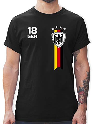 Fussball EM 2021 Fanartikel - EM Fan-Shirt Deutschland - 3XL - Schwarz - Deutschland wm 2018 Shirt - L190 - Tshirt Herren und Männer T-Shirts