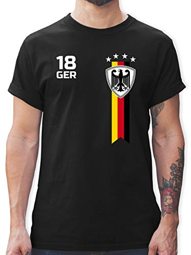 Fußball-Europameisterschaft 2021 - WM Fan-Shirt Deutschland - M - Schwarz - Fan Shirt wm Deutschland 2018 schwarz - L190 - Tshirt Herren und Männer T-Shirts