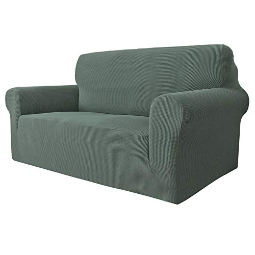 MAXIJIN Super Stretch Couch Bezug für 2-Sitzer Couch, 1-teilige Universal Love Sitzbezüge Jacquard Spandex Sofa Protector Hunde Haustierfreundliche Loveseat Schonbezug (2 Sitzer, Erbsengrün)