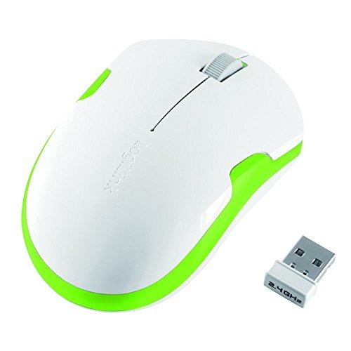 LogiLink ID0133 Mini-Maus 2,4GHz-Technologie, optischer Sensor, Auflösung bis 1200 DPI, hohe Präzision, schnelle Bedienung, weiß/grün