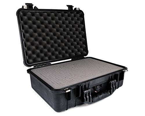 PELI 1500 Wasserdichter Koffer, IP67 Rated, 19L Volumen, Hergestellt in Deutschland, Mit Schaumstoffeinlage (Anpassbar), Schwarz