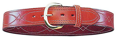 Bianchi Gun Leather B9 Fancy Stitched Belt, 1.75' Width, Finish, Brass Buckle, SZ36 (12291)