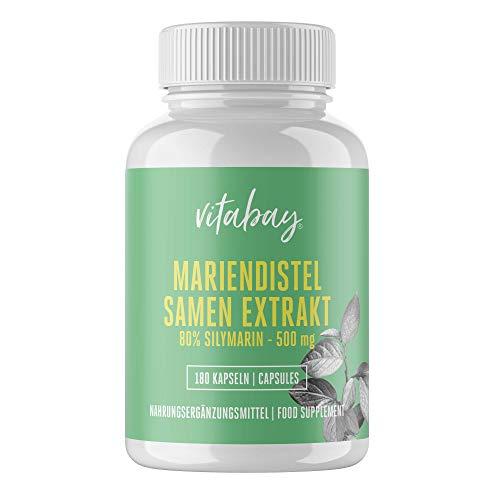 Vitabay Mariendistel Samen Extrakt 500 mg • 180 vegane Kapseln • Detox mit 80% Silymarin