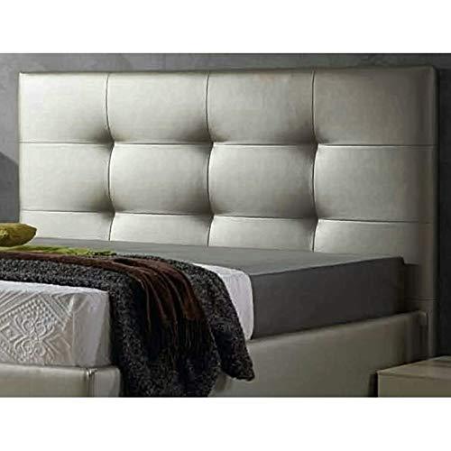 ED Cabecero Cama tapizado Polipiel Mod. Texas Todas Las Medidas y Colores (Plata, 150 * 70)