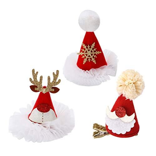 BESTOYARD 3 Stks Santa Hat Kerst Haar Clips voor Baby Meisjes Rode Partij Haaraccessoires voor Kinderen Volwassen