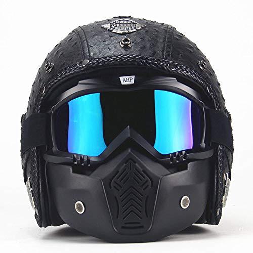 MRDEER Motorradhelm Vintage Handgemachtes Integralhelm Retro PU-Leder Helm Unisex Full-face Scooter-Helm Roller Sturz-Helm mit Visier, Maske, Brille(M,L,XL,XXL),Black,M