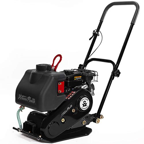XtremepowerUS 2.5HP Walk Behind 1920lbs Force Gas Vibration Plate Compactor Construction Water Tank 79cc LC152F EPA CARB
