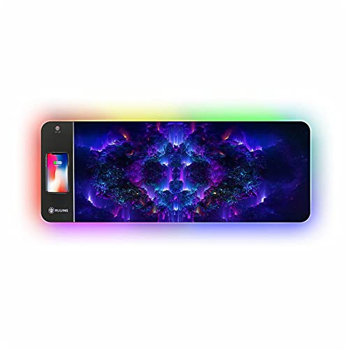 15W Wireless Charger Extended Soft Gaming Mousepad ,Large RGB Gaming Mouse Pad,Ultra-Long LED Luminous Mouse Pad,Non-Slip Rubber Computer Keyboard Pad, for iPhone, Samsung and More(31.5'x11.8')