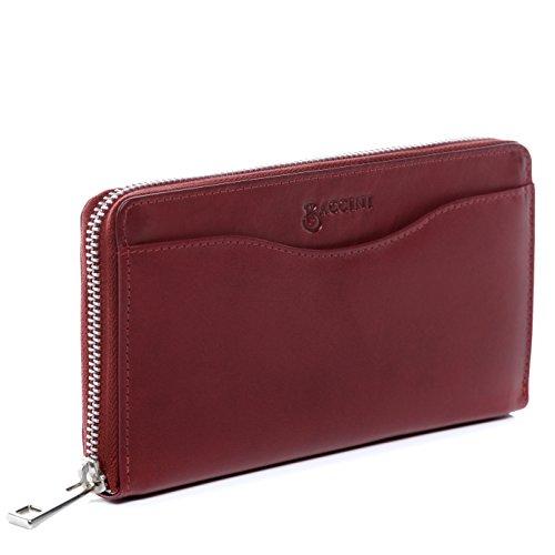 BACCINI® Portafoglio vera pelle ZOE grande pochette borsellino portamonete donna cuoio rosso