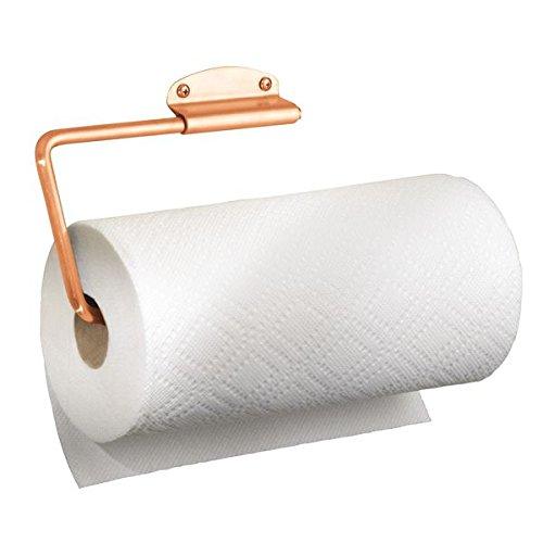 mDesign Portarrollos de cocina en acero color cobre - Práctico y compacto portarrollos para papel de cocina - Portarrollos cocina de fácil montaje en la pared o los armarios