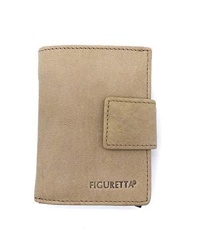 Figuretta RFID Nappa Leder Kartenetui mit Aluminium Hardcase Geldbörse Portemonnaie, Farbe:Beige