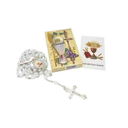 Dell'Arte Artículos Religiosi - Juego de cajita para rosario de primera comunión con rosario de cristal blanco 7 x 5 mm – Bombonera SRL