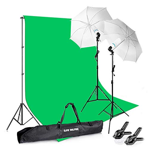 Slow Dolphin Photography Background Stand Support System with Muslin Backdrop (Chromakey Green Screen kit),1050W 5500K Daylight Continuous Umbrella Lighting Kit for Photo Studio Product, Portrait