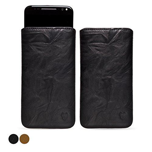 MediaDevil Motorola Moto X Style (2015) Lederhülle (Schwarz mit schwarzen Nähten) - Artisanpouch Hülle aus echtem europäischen Leder mit Ausziehlasche