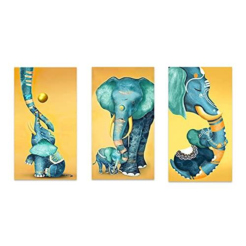 ZHUANGSHIHUA Elefante bebé Elefante Animales Lienzo impresión Cartel Pared Imagen nórdica Sala de Estar Pintura Decorativa (40x80 cm) × 3 Piezas sin Marco