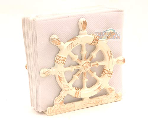 Nautical Ship?s Wheel/Coastal/Lunch Napkin Holder Off-White By The Metal Magician