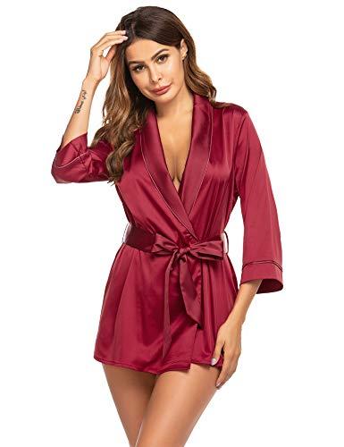 Unibelle Damen Morgenmantel Kimono Satin Lang Ärmeln Bademantel V Ausschnitt Negligee mit Gürtel, Weinrot, M