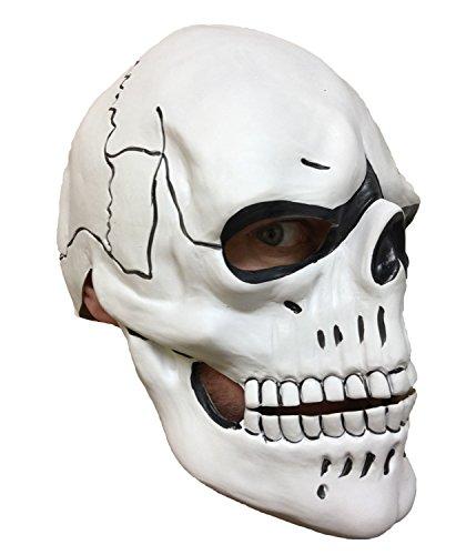 Rubber Johnnies TM Blanc Masque Crâne, Latex, Jour des Morts, Diamètre De Los Muertos
