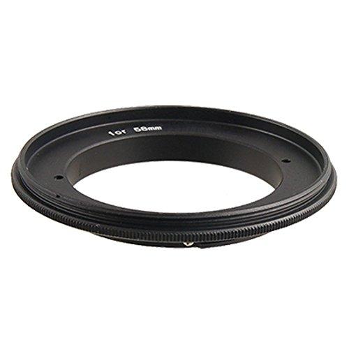 Macro 58mm lente de la cámara anillo adaptador inversa metal Negro