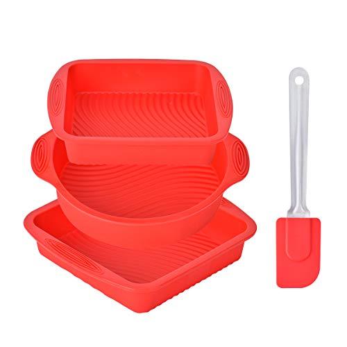 Queta Molde de silicona hornear 4 piezas Moldes de panadería flexible y antiadherente con una espátula de silicona para hornear pan, tostadas, pastels (Rojo)