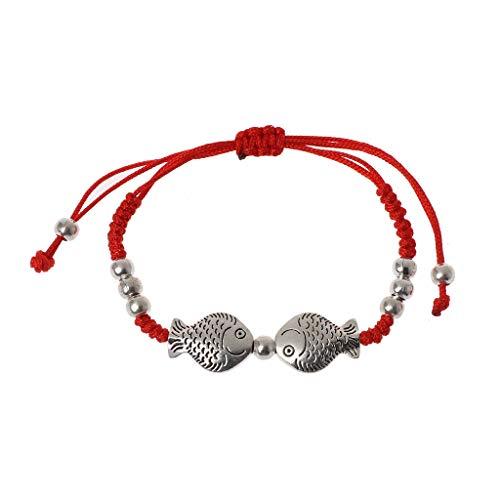 DREAMDEER Pulseras de Cabalá Trenzadas con Cuerda roja con Dos Peces
