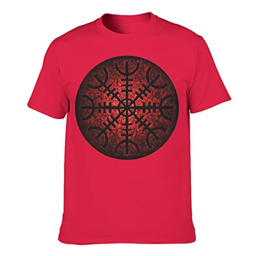 None Brand Men's Viking Blue Compass Printed Fit T-Shirt Exercise Short Sleeve Tee Youth & Adult Top red 5XL