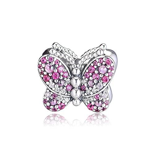 Pandora 925 colgante de plata esterlina Diy CKK abalorios de mariposa rosa iridiscente encantos para la fabricación de joyas se adapta a la pulsera original Kralen