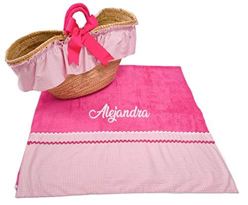 Borda y más Conjunto Capazo mimbre y toalla de playa para niña (Rosa/Fucsia, 2 piezas PERSONALIZADO)