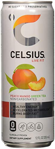 Celsius Celsius - Peach Mango Green Tea, 12-12 fl oz (355mL) Cans