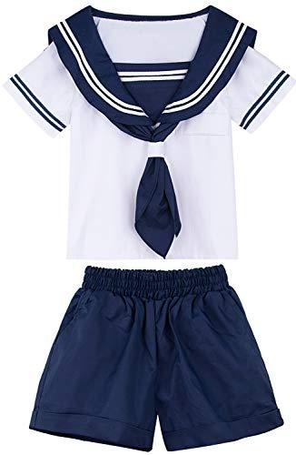 MOMBEBE COSLAND Jungen Matrose Kostüm (Weiß, L)