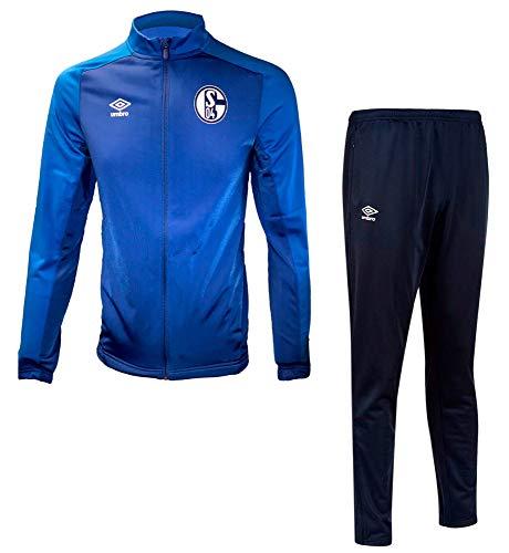FanSport24 Umbro Kinder Fußball FC Schalke 04 Polyester Anzug S04 Jacke Hose blau Navy Gr YM