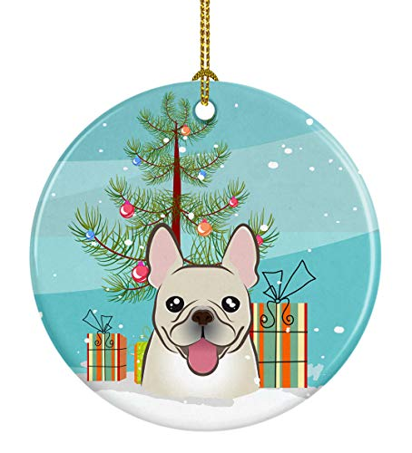 Caroline's Treasures Christmas Tree and French Bulldog Ceramic Ornament, Multicolor