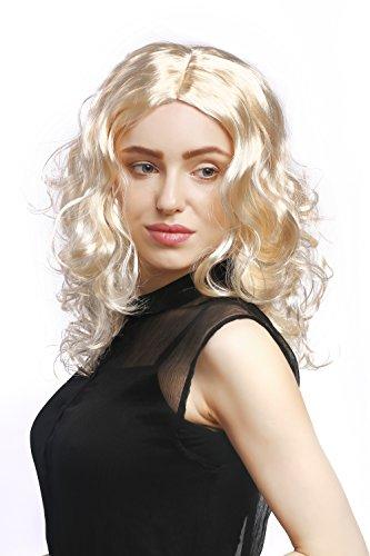 WIG ME UP - XR-010-P88 Perücke Damen Karneval Fasching lang Volumen Locken lockig Mittelscheitel Blond Hellblond 50 cm