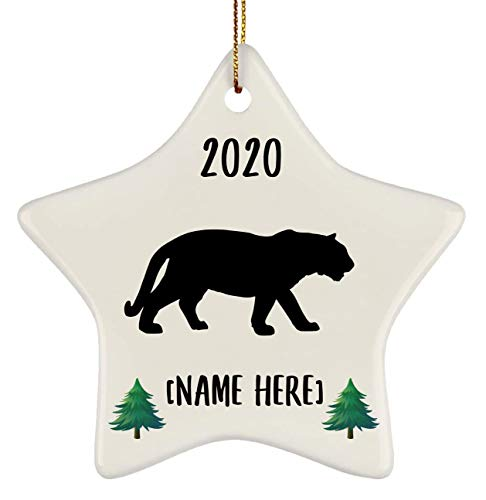 Lovesout Funny Personalized Name White Bengal Tiger Silhouette Paws Print Frame Star Ornament