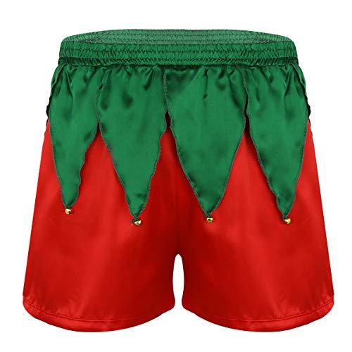 MSemis Disfraz Pap Noel para Adulto Calzoncillos Divertidos Disfraz Navidad Duende Sexy Hombres Lencera Roja Pantalones Cortos Ropa Cosplay Nochebuena Rojo M