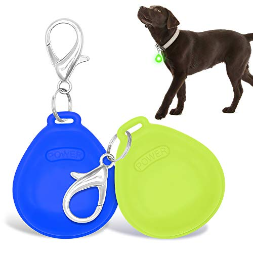 DOMIGLOW 2Pcs Dog Collar Light - Lighted Dog Pendants Led Dog Tag Lights Glow in Dark Pet ID Tags Dog Lights for Night Walking & Camping (Blue & Green)